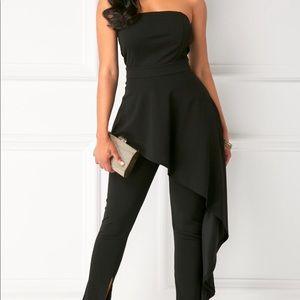 NWOT black jersey strapless jumpsuit